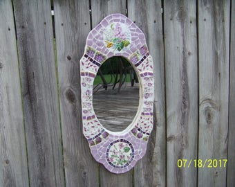 Hand made one of a kind MOSAIC Mirror Frame with vintage china and purple stained glass