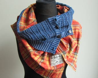 Cowl Neck Button Scarf for Men or Women, Upcycled Cowl Scarf from Repurposed Sweater and Shirt, Unisex Scarves, Country Western Clothing