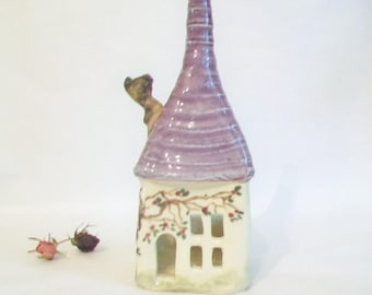 Fairy House -- Luminary, Candle Holder - Handmade on Potters Wheel - House has a hand-painted Wild Rose Vine , Purple Roof - Ready to Ship