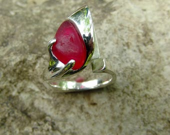 Red Sea Glass Ring - Red Glass - Sea Glass - Silver Ring- Beach glass ring