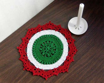 Holiday Colors Crochet Lace Doily, Christmas Table Decor, Red, Green, White, Decoration, Christmas Doily, Festive Home Decor, 8 Inch Doily