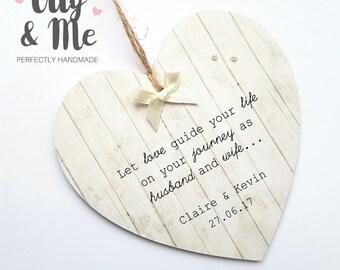 Handmade Personalised Wooden Wedding/Valentines Gift Plaque/Sign Heart Keepsake