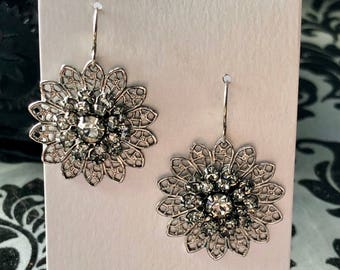 Gunmetal Grey Fillagree Clear Swarovski Crystal Rhinestone Chandelier Earrings