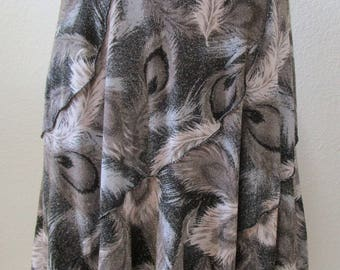 Feather prints  pattern in light silver gray color long length skirt or tube dress plus made in USA (V154)