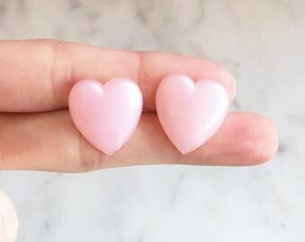 Vintage 60s Pink Heart Moonglow Plastic Stud Earrings