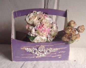 Vintage mauve basket, French wooden garden trug, Rustic home decor/ farmhouse kitchen, French Home Decor