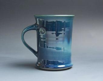 Pottery coffee mug, ceramic mug, stoneware tea cup navy blue 14 oz 4034