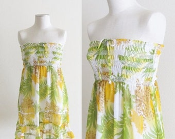 40% OFF SALE Vintage 1970's Hippie Sundress / Yellow Floral Viscose Beach Summer Dress / Made in India Size Small (2/4)