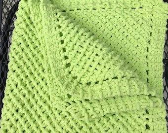 Christmas in July Knit Baby blanket super soft (lime green)