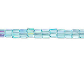Celestial Crystal glass cubes, 18-facet, turquoise blue AB, 4x4mm #2441