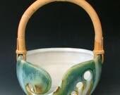 Keramik GARNSCHALE #12 - Keramik stricken Schale - Schale mit Cane Griff - Steinzeug stricken Schale - Keramik Schale - häkeln Stricken Stricken