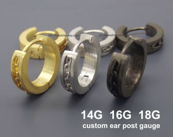 18 Gauge 16 Gauge 14 Gauge Hoop Earrings For Men - Medium Hoop Earrings - Cartilage Piercing - Chain Inlay - E149 Custom Gauge