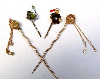 4 Vintage Oriental hair accessories Japanese Kanzashi hair pin hair pick hair fork hair clip hair jewelry hair ornament