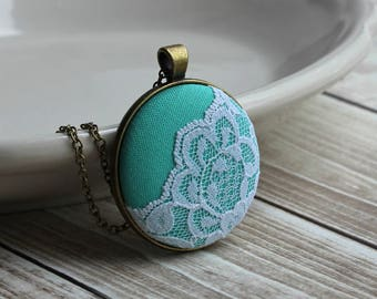 Mint Bridesmaid Necklace, Pastel Wedding Jewelry, Green And White Lace, Unique Anniversary Gift For Women