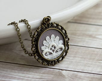 Valentine's Day Jewelry Gift, Small Lace Pendant, Cotton, Anniversary Gift, Art Deco Necklace, Gray Fabric, Ivory Vintage Flower