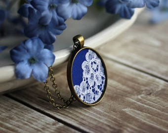 Cobalt Blue Necklace, Small Oval Lace Pendant, Boho Unique Jewelry Gift for Women