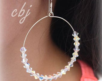 Crystal Hoop Earrings, Swarovski Crystal Hoop earrings, CLEAR Crystal Hoops, Handmade Jewelry, Custom made Crystal Jewelry, Crystal Hoops