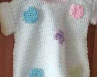 Hand Crocheted  toddler dress.