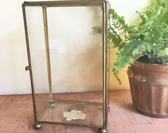 Vintage Brass & Glass Curio Box, Display Box, Soldered Box, Hinged Box