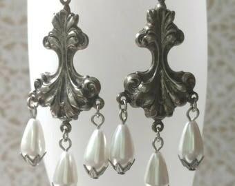 Pearl Chandelier Earrings - Pearl Jewelry - Jewelry for Bride - Victorian Jewelry - Victorian Earrings - Reign - Womens Jewelry