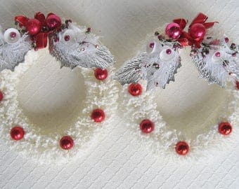Pair of Vintage Flocked White Bottle Brush Wreaths, Embellished with Foil Leaves, Mercury Beads, Ornaments