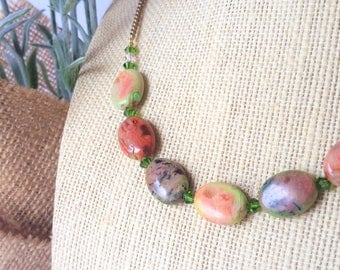 Watermelon Agate Natural Stone Necklace - Gold Chain
