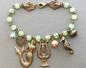 Mermaid Jewelry - Mermaid Bracelet - Ocean Jewelry - Beach Bracelet - Charm Bracelet - Seahorse Jewelry - Mythology Jewelry - Mermaids