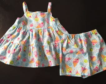 Girls Twirly Tunic and Shorts Set sz 5