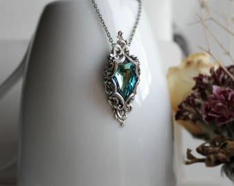 Lady of the Ocean Silver Swarovski Necklace - Fantasy Winter Wedding - Bride - Something Blue - Holidays - December - Christmas