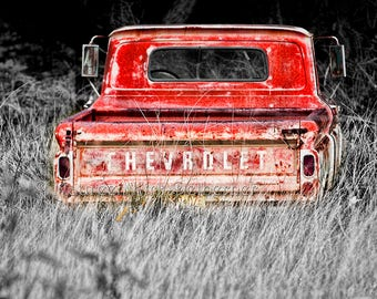 Chevy, truck, black and white, photo, man gift, wall decor, art, photo, truck tailgate, Chevy tailgate, Chevrolet, 1960s, chevy, old