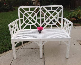 FRETWORK BENCH with CANE Seat / Fretwork Bench / Chippendale Style Fretwork Bench / Hollywood Regency Chinoiserie style at Retro Daisy Girl