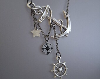 Lost at Sea Necklace, Summer Necklace, Summer Outdoors, Summer Party, Anchor Star and Wheel Necklace, Compass Necklace, Navigation Necklace
