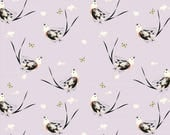 Organic KNIT Fabric - Charley Harper Western Birds - Scissor-Tailed Fly Catcher Knit