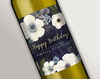 Customized Wine Bottle Labels • Beautiful Floral Design • Birthday, Bridal Shower, Gift