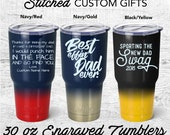Dad Tumbler, personalized Powder Coated Stainless Steel, Funny, Father's day, Travel Mug, Thank for being my dad, best effin' dad, New dad