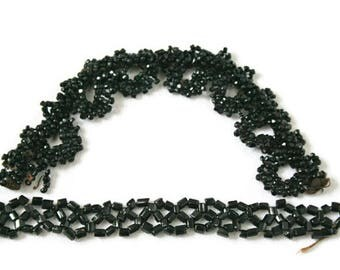 Vintage Jet Bead Trim  /  2 Pieces of Victorian Beads  /  Millinery or Costume Trim  /  Black Glass Beads  /  Mourning Jet Beads