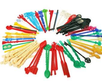 88 Vintage Swizzle Sticks  /  Retro Mid-Century Barware Supplies  /  Cocktail Stir Sticks  /  Bar Display  /  Collectible Bar Ware