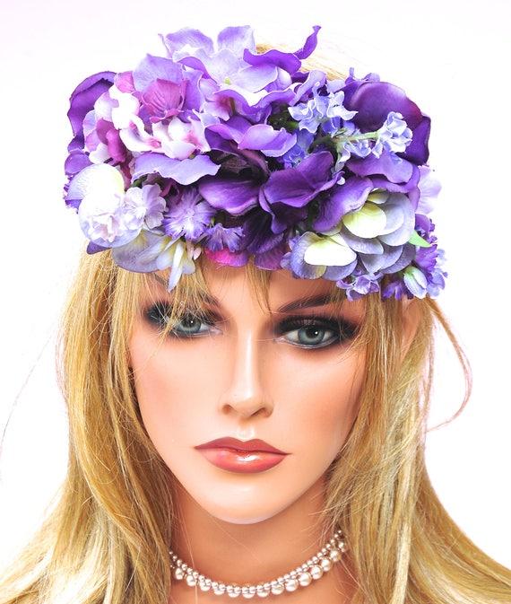 Purple Flower Headpiece, Purple Flower Crown, Flower Tiara, Wedding Headpiece, Fascinator, Flower Fascinator, Boho Headpiece, Purple Hat,
