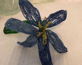 French Beaded Blue Flower with Yellow Stamen - Single Stem Periwinkle Blue Beads -6 inch wide