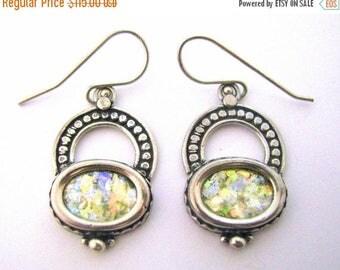 Summer Sale Beautiful  Roman Glass 925 Sterling Silver   Earrings