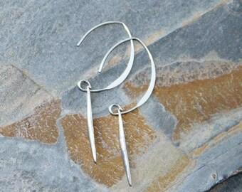 Spike Earrings, Sterling Silver Earrings, Spike Jewelry, Sterling Silver Jewelry, Geometric Earrings, Dangly Earrings, Long Earrings