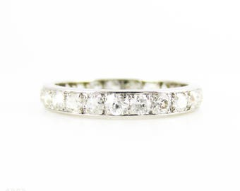 Antique Diamond Eternity Ring, Full Hoop Platinum Set Wedding Ring, 0.70 ctw. Circa 1900, Size K.25 / 5.5.