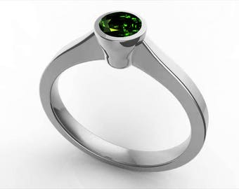 Emerald ring, Solitaire Engagement Ring, Emerald Solitaire Bezel Set ring, Bezel Set Solitaire Ring, Emerald Solitaire Ring, Solitaire Ring