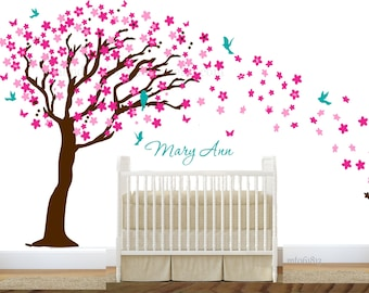 Cherry blossom decal  tree wall decal nursery wall decal custom color boy or girl nursery tree wall sticker large tree wall decal tree