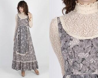 Gunne Sax Dress Black Label Dress Boho Wedding Dress Bohemian Dress Vintage 1969 70s Purple Floral Sheer Lace Renaissance Long Maxi Dress S