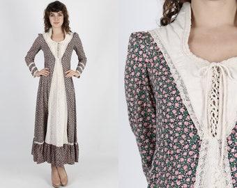 Gunne Sax Dress Boho Wedding Dress Renaisance Dress Calico Dress Bohemian Dress Vintage 70s Dress Floral Lace Hippie Prairie Maxi Dress M