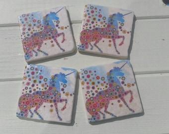 Whimsical Unicorn Stone Coaster Set of 4 Tea Coffee Beer Coasters