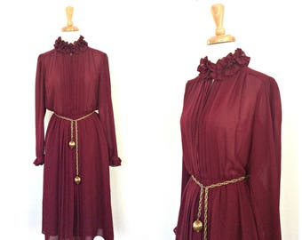Vintage Burgundy Party Dress - disco dress - 70s dress - semi sheer - ruffled -midi - pintuck - alternative wedding - Medium