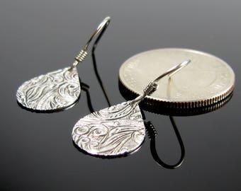 Teardrop dangle earrings, surgical steel nickel free earrings, art deco embossed earrings, small earrings, everyday simple silver earrings