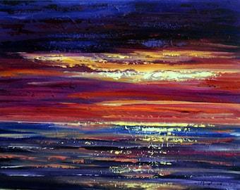 Bright Skies Painting, Coastal Art, Original Acrylic Art, Cornwall Coast, Seascape Painting, Nature, Wall Art, Sunrise Painting, Abstract